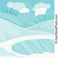 hiver, neigeux, illustration, forêt, vecteur, fond, jour, paysage