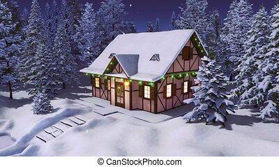 hiver, neigeux, noël, maison, sapin, forêt, nuit