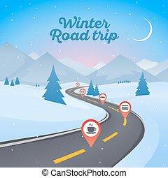 hiver, neigeux, pathway., route enroulement, fond, année, nouveau, paysage