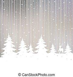 hiver, noël, arrière-plan., deer., forêt, fée, blanc, paysage