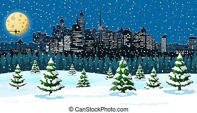 hiver, noël, flocons neige, arbres, cityscape