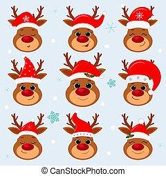 hiver, noël., heureux, style, neuf, renne, nouveau, santa, vecteur, chapeau, s, année, arrière-plan., mignon, dessin animé, plat, joyeux, ensemble