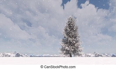hiver, noël, neige, paysage arbre, forêt