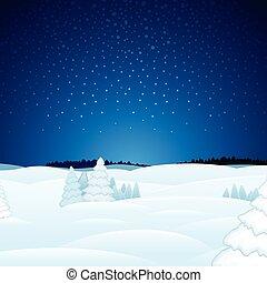 hiver, noël, paysage, vecteur