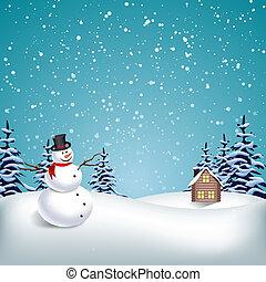 hiver, noël, paysage