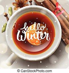 hiver, noël, thé, bonjour, épices