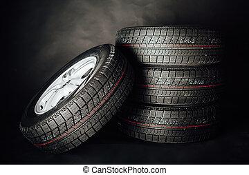hiver, noir, pneus, fond, studless