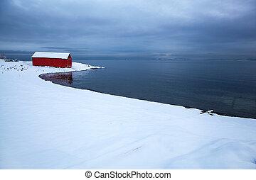 hiver, norvégien, paysage, fjord, orageux