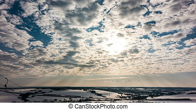 hiver, nuage ciel bleu, nature, hiver, 4k, beau, lapse., ...