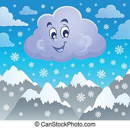 hiver, nuage, thème, image, 2