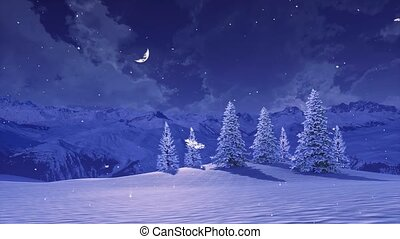 hiver, nuit, chute neige, paysage montagne