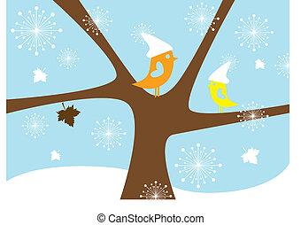 hiver, oiseaux, vecteur