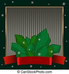 hiver, or, élégant, texte, cadre, theme., bonbon, sombre, strict, arrière-plan vert, canes., noël