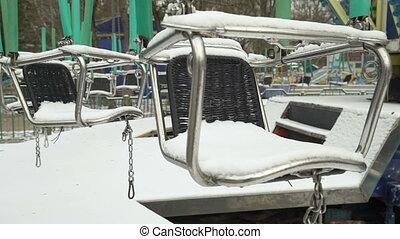 hiver, parc, neige, vide, carrousel, couvert, amusement