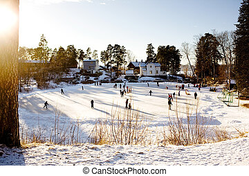 hiver, patinage, amusement