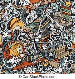 hiver, pattern., seamless, main, recours, dessiné, doodles, sports, ski, ba