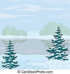 hiver, paysage., forêt, rivière