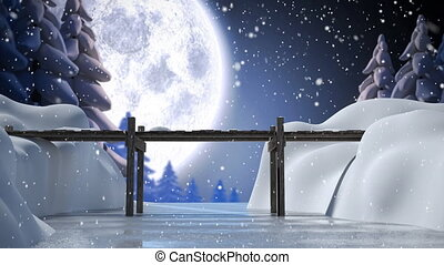 hiver, paysage, lune, entiers, neige, tomber