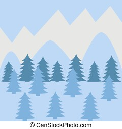 hiver, paysage montagne