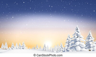 hiver, paysage, tomber, neige