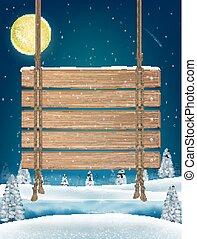 hiver, pendre, lac, signe, bois, planche, nuit
