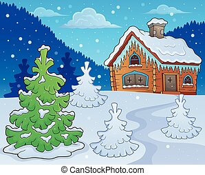hiver, petite maison, thème, image, 2
