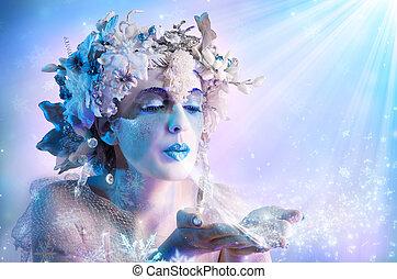 hiver, portrait, souffler, flocons neige
