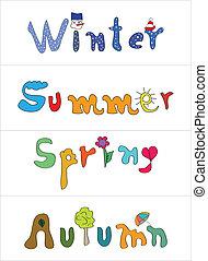 hiver, printemps, automne, étiquettes, conception, été, spécial