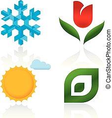 hiver, printemps, icônes, autumn., quatre saisons, été