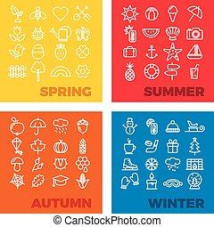 hiver, printemps, icônes, saison, -, automne, été