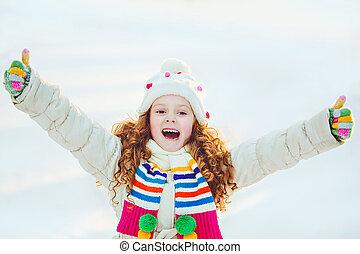 hiver, projection, haut, park., rire, girl, pouces