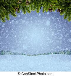 hiver, résumé, arrière-plans, ton, conception, noël