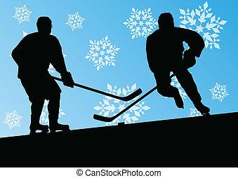 hiver, résumé, hommes, jeune, glace, joueurs, silhouettes,...
