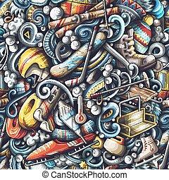 hiver, recours, pattern., seamless, main, arrière-plan., dessiné, doodles, sports, ski