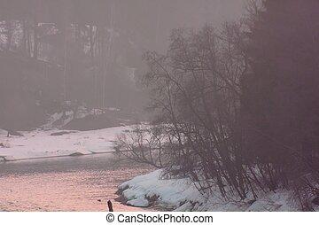 hiver, rivière, Levers de Soleil