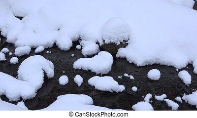 hiver, ruisseau, forest., 4k, petit, paysage