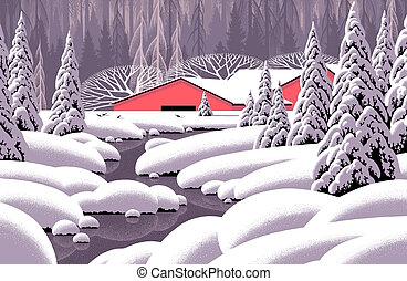 hiver, ruisseau, &, grange