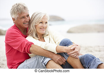 hiver, séance, couple, personne agee, vacances, plage