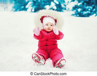 hiver, séance, doux, neige, bébé, jour