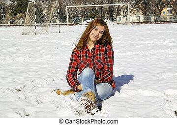 hiver, séance, ensoleillé, parc, jeune, neige, girl, jour, heureux