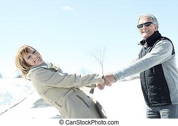 hiver, saison, associez portrait, personne agee, heureux