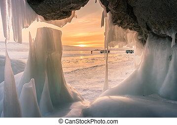 hiver, saison, caverne, glace, fond, coucher soleil, baikal, russie, sibérie