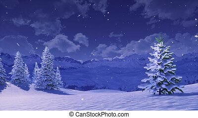 hiver, sapin, snowbound, arbres, nuit, chute neige
