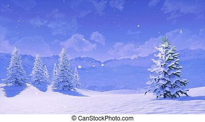 hiver, sapin, snowbound, matin, chute neige, arbre