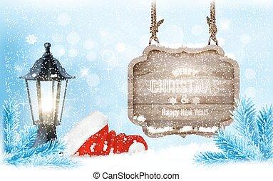 hiver, signe, arrière-plan., santa, lanterne, chapeau, noël, vector.