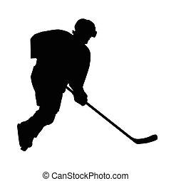 hiver, silhouette, glace, joueur, vecteur, hockey, sport