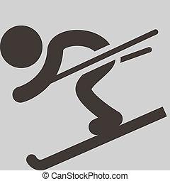 hiver, -, ski, sport, descendant, icône