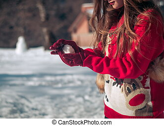 hiver, snow., temps, amusement, girl, avoir