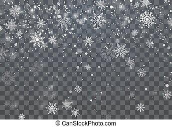 hiver, snowflakes., illustration, arrière-plan., vecteur, fond, tomber, vacances, noël
