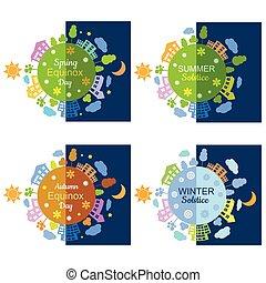 hiver, solstice, equinox., summmer, automne, printemps